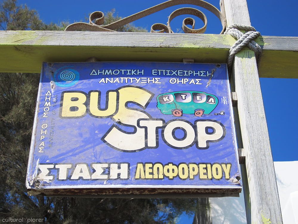 Santorini Bus Stop Sign